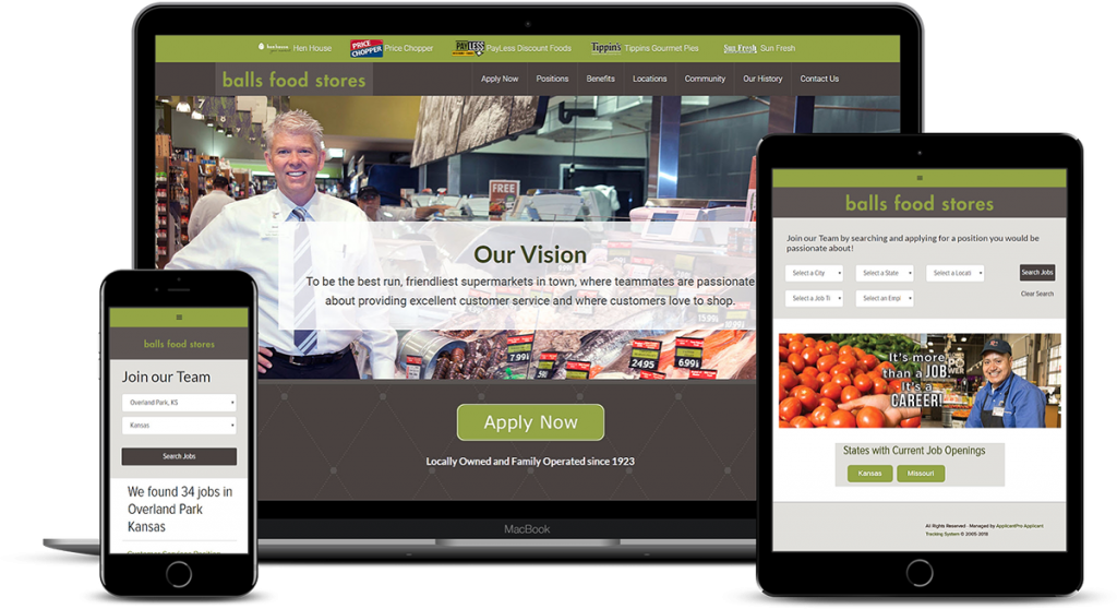 Career Website and Employment Application for Balls Foods