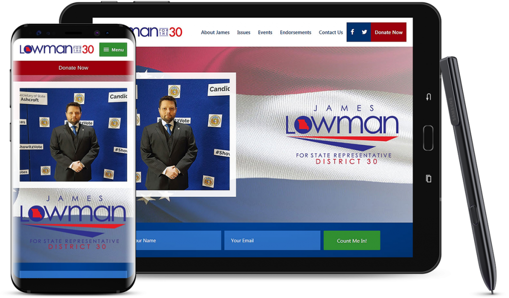 Website Design for James Lowman for Missouri State Rep Campaign