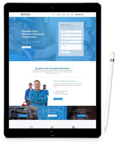 Website Design on iPad Pro for Electrical Company